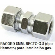RACORD 8MM. RECTO G-8 (tipo Hermeto)